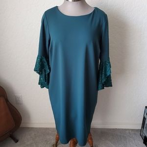 FORREST GREEN SHEATH with SPARKLE SLEEVES 18W NWT